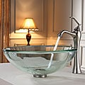 Kraus Clear 19mm thick Glass Vessel Sink and Ventus Faucet Brushed Nickel