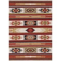 Hand-hooked Rancho Ivory/ Multi Rug (5&#39; x 7&#39;6)