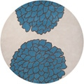 Hand-tufted Contemporary /Beige Hoax New Zealand Wool Abstract Rug (8' Round)