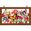 Hand-painted Butterflies/ Lilies Framed Art Panel