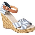 Refresh by Beston Women's 'BONNIE-06' Striped Rattan Wedge Sandals