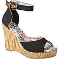 Refresh by Beston Women&#39;s &#39;BONNIE-01&#39; Peep-toe Wedge Sandals
