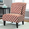 Anna Houndstooth Rust Accent Chair