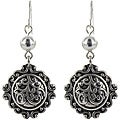 Roman Silvertone Antiqued Dangle Earrings