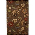 Hand-Tufted Brown Floral Wool and Art Silk Area Rug (5&#39; X 8&#39;)