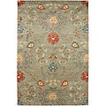 Hand-tufted Ivory, Red and Green Wool Rug (8&#39; x 11&#39;)