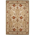 Hand-tufted Sand Brown/ Red Wool Rug (8' x 11')