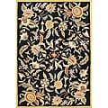 Handmade 'Metro Flower' Black New Zealand Blended Wool Rug (5' x 8')