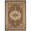 Hand-knotted Brown/ Red Wool Rug (10' x 14')
