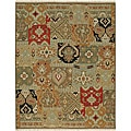 Hand-knotted Green/ Red Wool Rug (8' x 10')