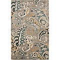 Hand-tufted Grey Paisley Wool Rug (2&#39; x 3&#39;)