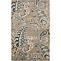 Hand-tufted Grey Paisley Wool Rug (2' x 3')