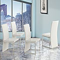 Reynold White Metal Sleek Modern Contoured Dining Chair (Set of 4)
