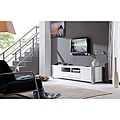 B-Modern &#39;Maya&#39; White High-Gloss Stainless Steel TV Stand