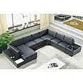 Artistant House 4-piece Black Leather Sectional