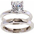 Silver-tone Cushion-cut Cubic Zirconia Solitaire Ring and Band