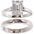 NEXTE Jewelry Silvertone Emerald-cut Solitaire Ring and Band