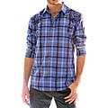 191 Unlimited Men&#39;s Blue Embroidered Plaid Shirt