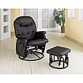 Black Swivel Rocker Glider Recliner Chair and Ottoman Set