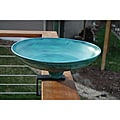 Powder Coated &#39;Verdi Gris&#39; Round Steel Deck Mount Birdbath
