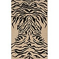 Power-Loomed Zebra Charcoal Rug (3' x 5')