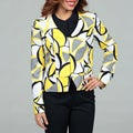 Evan Picone Women's Yellow Abstract Cropped Jacket