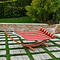 Cantina Arc Hammock Stand with Striped Poly Hammock with Bolster Pillow