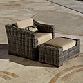 Resort Collection Weathered Grey Outdoor Club Ottoman
