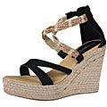 Refresh by Beston Women's 'Tamara-01' Black Espadrille Wedge Sandals