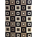 Modern Deco Black Blocks Rug (3&#39;9 x 5&#39;1)