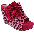 Elegant by Beston Women's 'Flower-2' Fuchsia Platform Slip-ons