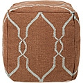 Decorative Gridwork Blue Pouf
