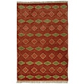 Hand Knotted Melody Diamond Coral Wool Rug (5' x 8')