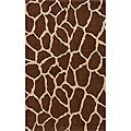 Power-loomed Giraffe Brown Wool Rug (9'6 x 13')