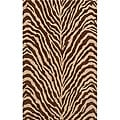 Power-loomed Bengal Brown Wool Rug (9'6 x 13')