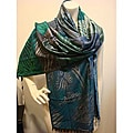 Privee Paris Silk/ Modal Blue Green Zebra Wrap Scarf