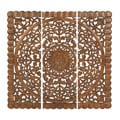 Wooden Carved Wall Art Plaque (Set of 3)