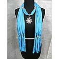 Turquoise Blue Scarf With Filigree Flower Pendant