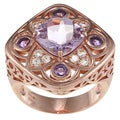 Meredith Leigh Copperplated Sterling Silver Amethyst and White Topaz Ring