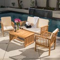 Christopher Knight Home Carolina 4-piece Outdoor Acacia Sofa Set