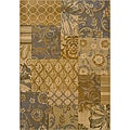 Floral Gold/Grey Transitional Area Rug (7'8 x 10'10)