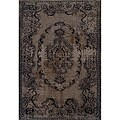 Grey/ Black Oriental Area Rug (3'10 x 5'5)