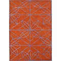 Handmade Red Orange Wool Rug (5' x 8')