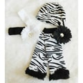 Baby Girl Black Zebra Lace Ruffles Gift Set