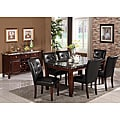 Radian Real Marble 7-piece Dining Set with Black Chairs