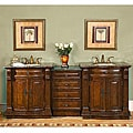 Silkroad Exclusive Stone Counter Top 84.5-inch Double Sink Bathroom Vanity