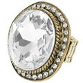 Journee Collection Goldtone Large White Czech Crystal Stretch Ring
