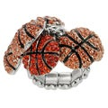 Journee Collection Bronzetone Orange Crystal Basketball Stretch Ring