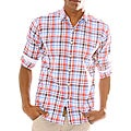 191 Unlimited Mens Red Plaid Woven Shirt