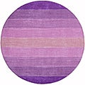 Hand-tufted Purple Stripe Wool Rug (6' Round)